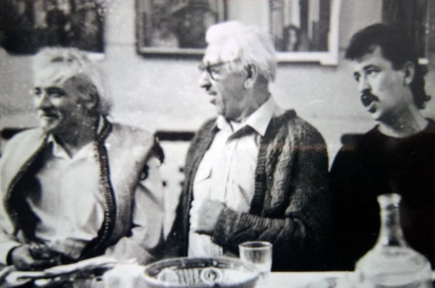 (Зліва направо) Опанас Заливаха, поет Іван Світличний та Богдан Бринський.