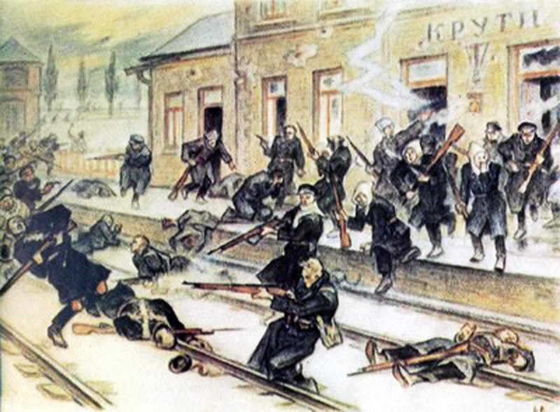 Фоторепродукція полотна художника Леоніда Перфецького (1901–1977) «Оборона студентським куренем залізничної станції Крути 29 січня 1918 року».