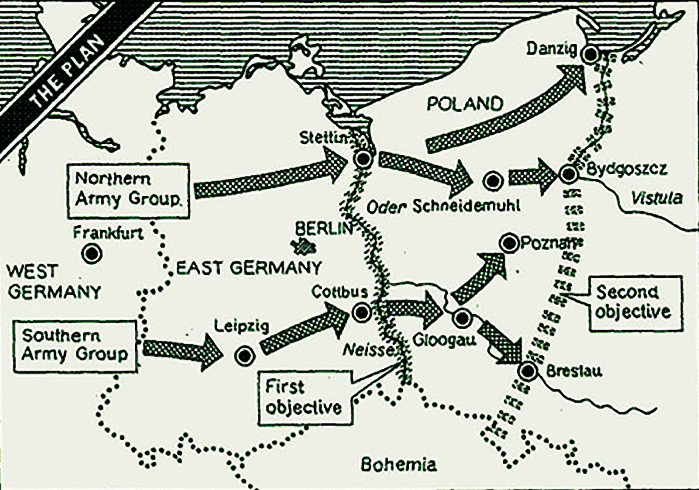 Стрілками позначено напрями гіпотетичних ударів англо-американо-канадських військ по позиціях ЧА в повоєнній Європі.